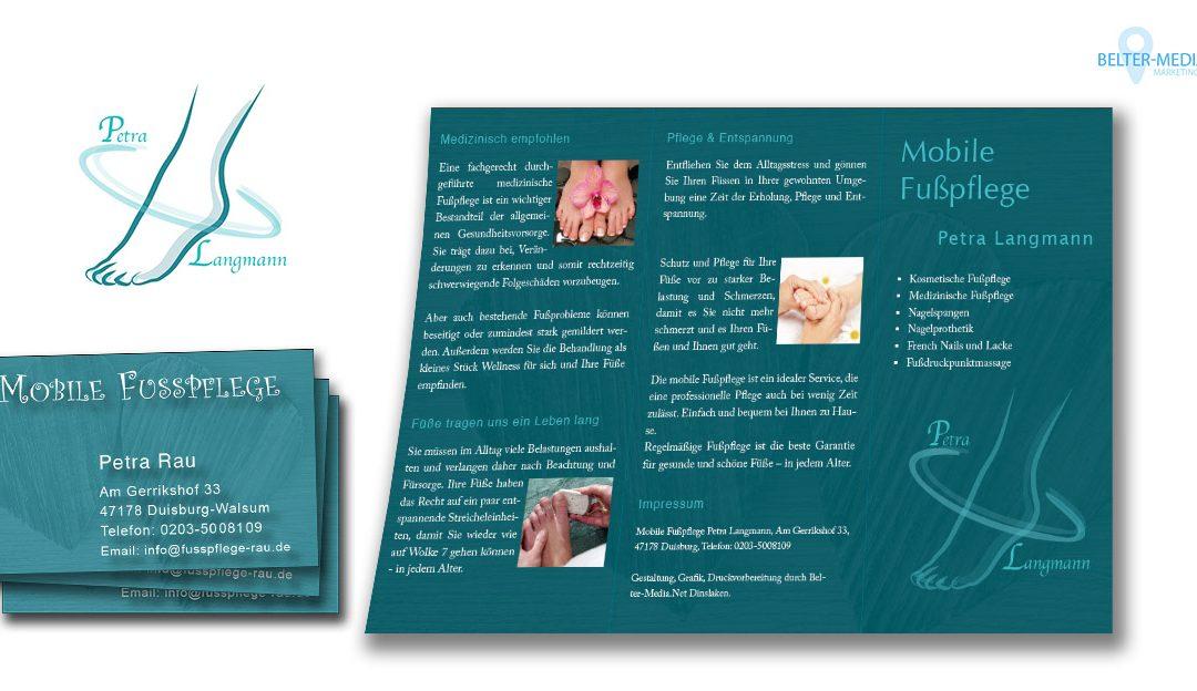 Chices Logo Visitenkarten Flyer Für Mobile Fußpflege In