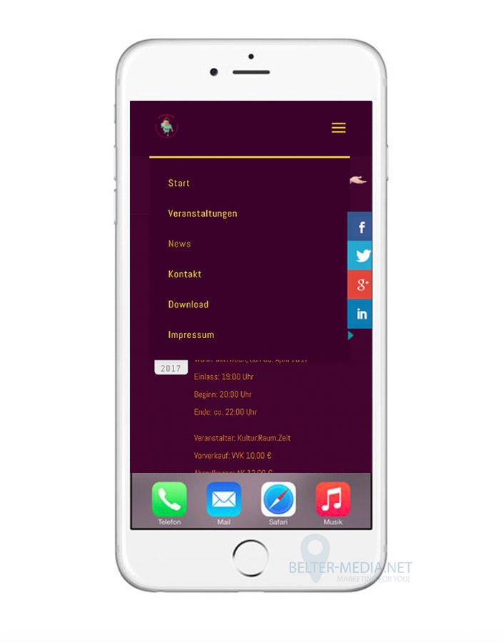 Oliver Müller Homepage 03 Responsive Layout auf dem Smartphone