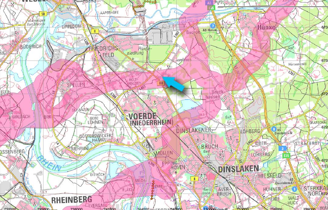 Mögliche Trassenführung A-Nord im Bereich Voerde, Wesel, Dinslaken, Hünxe, Topografische Karte (c) Land NRW (2017), Datenlizenz Deutschland – Namensnennung – Version 2.0, Trassendaten von Amprion