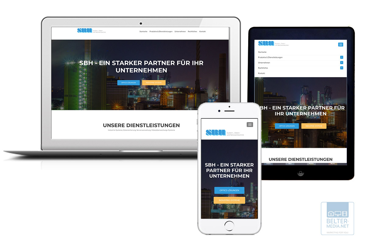 Responsive Layout sorgt für ideale Ansicht auf Desktop, Smartphone und Tablet (Belter-Media.Net)